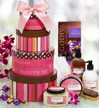 Pamper Her Spa Gift Tower with Godiva Chocolate