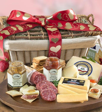 Valentine Meat  Cheese Gift Basket