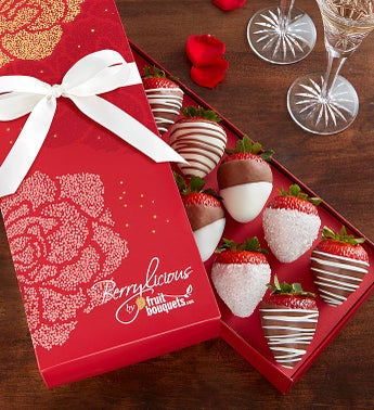 Chocolate Covered Strawberry Rose Box