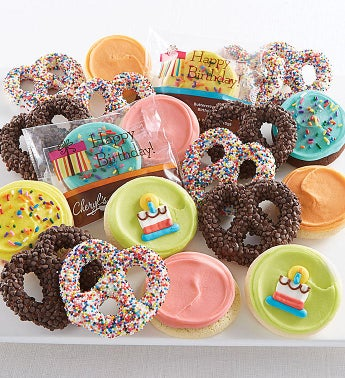 Buttercream Frosted Birthday Cookies and Pretzels