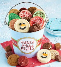 Warmest Holiday Wishes Treats Pail