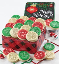 Happy Holidays Plaid Gift Tin