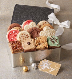 Holiday Punch Design Gift Tin - 10 Cookies & 4 Brownies