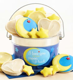 Love You to the Moon Buttercream Frosted and Crunchy Cookie Pail