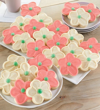 Buttercream Frosted Flower Cut Out Cookies