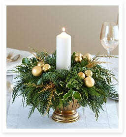 It's All About the Greens & Glamour with Golden Lights Holiday Centerpiece by Real Simple®