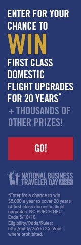 Chance to Win First Class Domestic Flight Upgrades