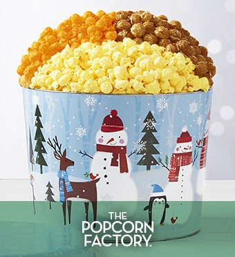 Snow Day Popcorn Tin/2 Gal 3 Flavor