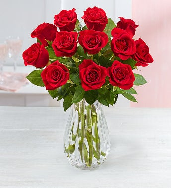 One Dozen Red Roses with Clear Vase