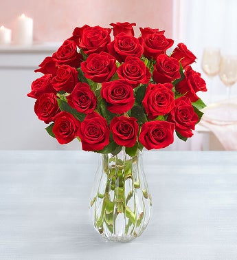 Two Dozen Red Roses with Clear Vase