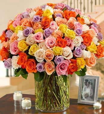 100 Premium Long Stem Multicolored Roses in a Vase