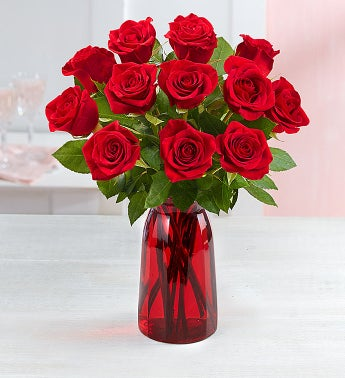 One Dozen Red Roses with Red Vase