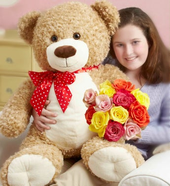 Big Bear Hugs with Roses