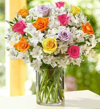 Assorted Rose & Peruvian Lily Bouquet + Free Vase