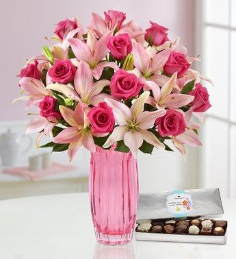 Pink Rose  Lily Bouquet for Mothers Day