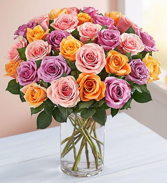 Sorbet Roses 36 Stems with Clear Vase