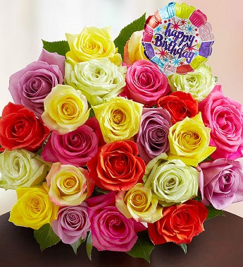 Happy Birthday Assorted Roses,  24 Stems, Bouquet Only