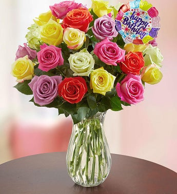 Happy Birthday Assorted Roses,  24 Stems with Clear Vase