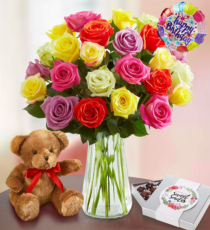 Happy Birthday Assorted Roses  Stems