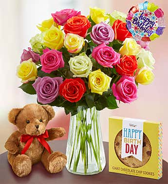 Happy Birthday Assorted Roses, 12-24 Stems