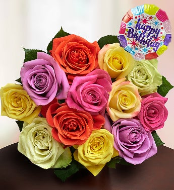 Happy Birthday Assorted Roses,  12 Stems, Bouquet Only