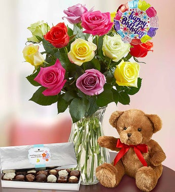 Happy Birthday Assorted Roses,  12 Stems with Clear Vase, Bear & Chocolate