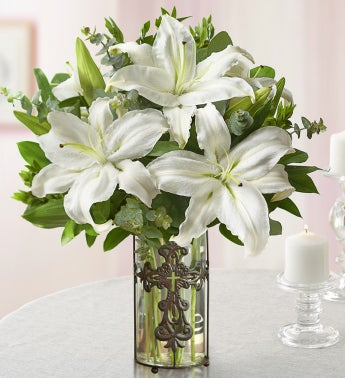 White Lilies with Cross Vase