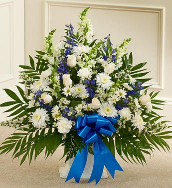 Blue and White Sympathy Floor Basket