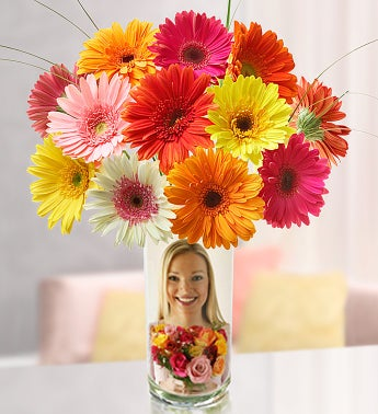 Personalized Vase with Gerbera Daisies