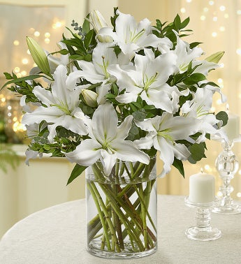 All White Lilies Double Bouquet with Clear Vase