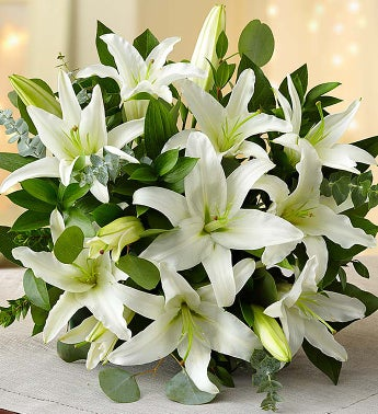 All White Lilies Double Bouquet Only