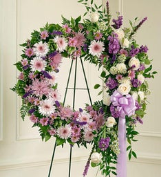 Lavender and White Standing Wreath