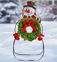 Holiday Snowman Stand with Wreath