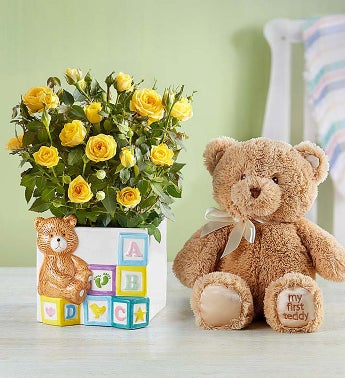 Baby Blocks Playtime Roses with Bear