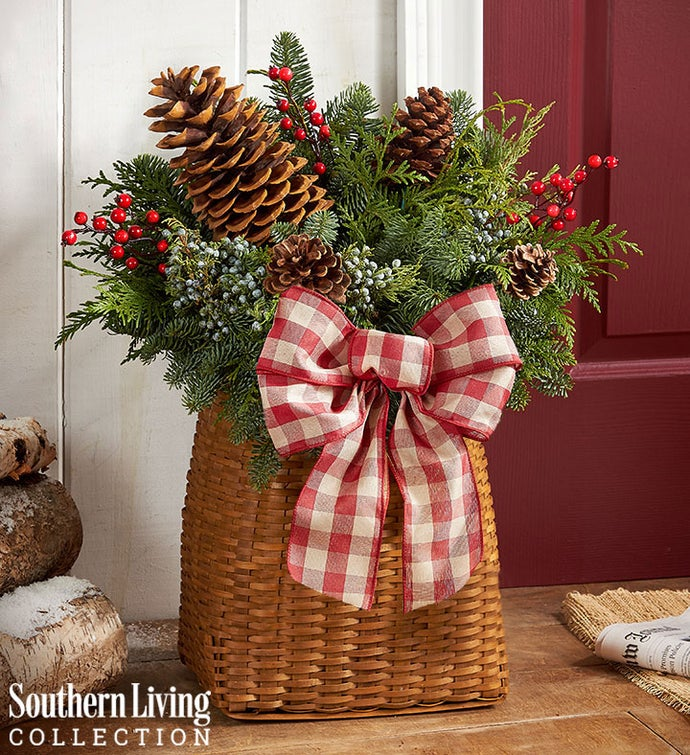 Welcome Winter Evergreen Basket by Southern Living®