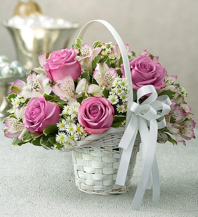 Purple Elegance Flower Girl Arrangement Basket