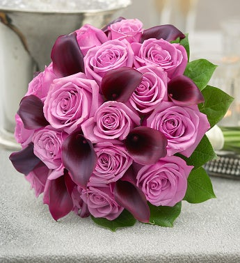 Purple Elegance Rose and Mini Calla Lily Bouquet Large