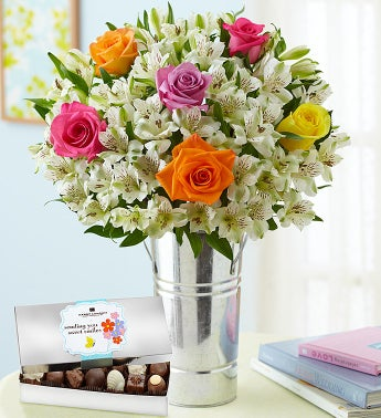 Assorted Rose & Lily Bouquet with Chocolate