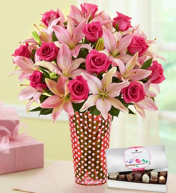 Magnificent Pink Rose & Lily with Chocolate