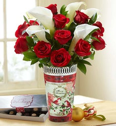 Holiday Red Rose & Calla Lily Bouquet