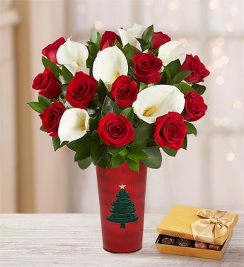 Holiday Red Rose  Calla Lily Bouquet