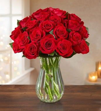 Merry Red Roses: Buy 12, Get 12 Free + Free Vase