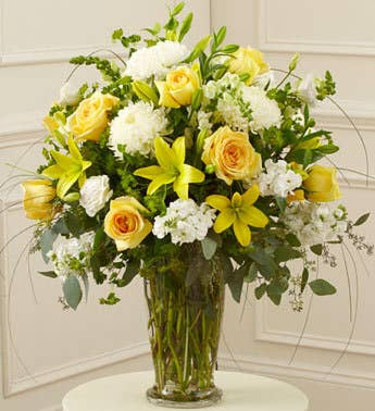 Yellow  White Large Sympathy Vase Arrangement