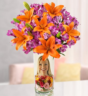 Personalized Vase with Autumn Lily Medley