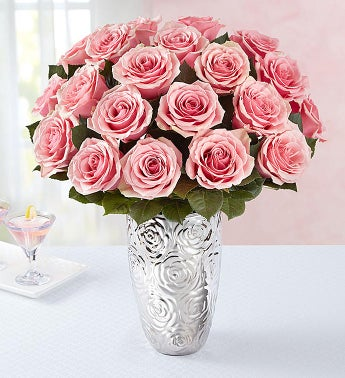 Pink Petal Roses 24 Stems with Silver Embossed Vase