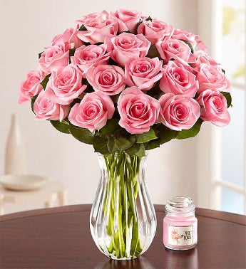 Mv 1 For Sale >> Two Dozen Pink Roses + Free Vase & Free Candle