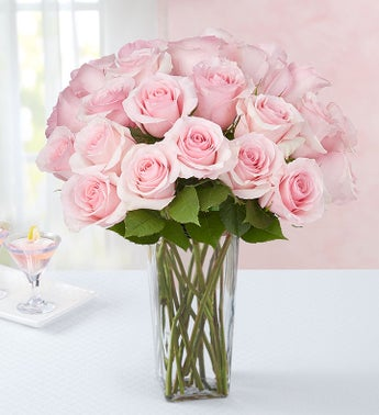 Pink Petal Roses 24 Stems with Clear Vase