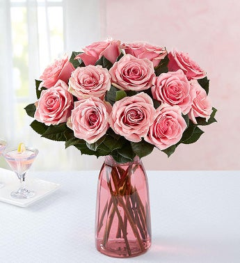 Pink Petal Roses 12 Stems with Pink Vase