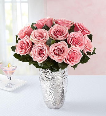 Pink Petal Roses 12 Stems with Silver Embossed Vase