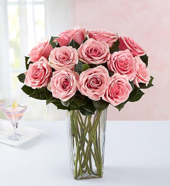 Pink Petal Roses 12 Stems with Clear Vase
